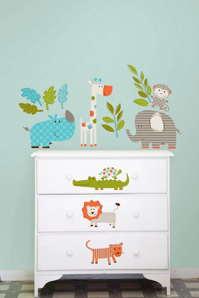 Let's Go On Safari Wall Art Sticker Kit